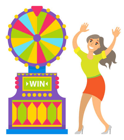 Woman happy of fortune wheel results vector, gambler with smile on face. Lady wearing skirt and blouse relaxing in casino, dancing by spinning circle Ilustração