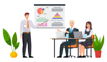 Businessman makes a presentation of a statistical report doing digital analysis charts. Planning business concept. Teamwork consulting for project management, financial reporting and strategy