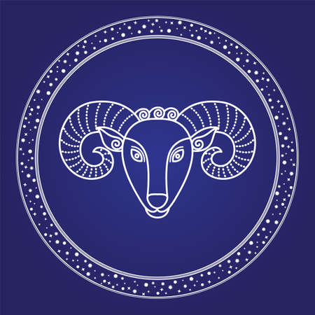 Horoscope Aries zodiac symbol of cosmic sky. Card horns head of firs astrological character isolated on blue. Astronomy emblem outline of stars shape sign. Mythology object in starry circle vector 向量圖像