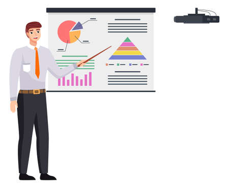 Businessman makes a presentation of a statistical report doing digital analysis charts. Planning business concept. Consulting for project management, financial reporting and strategy