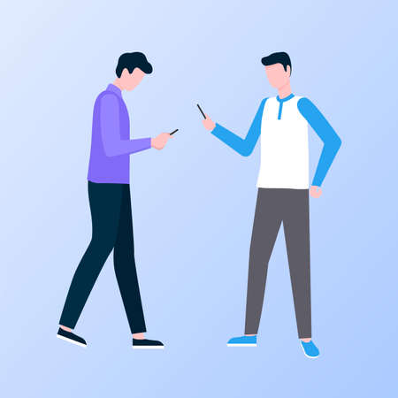 Men characters using phone, male communication with wireless device, people full length view of going with smartphone, tapping message, online vector