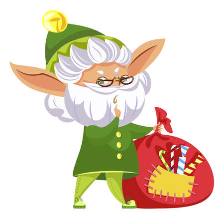Elf fairy character holding bagful with candies. Christmas card helper hero with white beard and glasses standing with festive sack. Winter holiday postcard with New year assistant and sweets vector