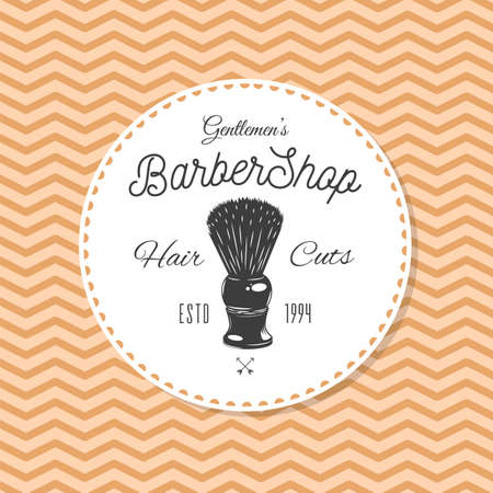 Logotype for barbershop in vintage style. Barber shop logo flat vector design emblem with barber objects sign and lettering. Hairdressing salon signboard. Style haircut banner poster 向量圖像