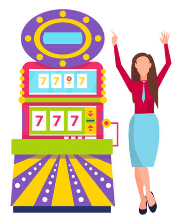 Success of playing game machine, female player with rising hands, gambling entertainment. 777 winning icons, winner woman in casino, lucky gamer vector