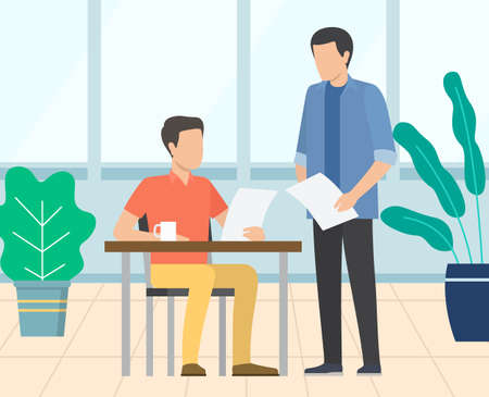 Employer talking to novice employee vector, man reading paper. Report of assistant, page with stats and information on project, office cozy interior 向量圖像