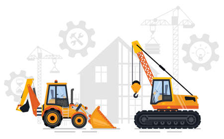 Construction equipment vector, bulldozer and loader crane with hook. Building with gears and cogwheels, creating new infrastructure in city flat style