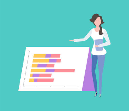 Woman showing presentation vector, lady with papers and business reports in hands, infochart visualized info, visualization on page, schemes colored