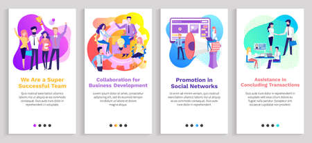 Assistance in concluding transaction vector, business partners and team working on project, promotion in social media and networks, success. Website or slider app, landing page flat style Ilustração