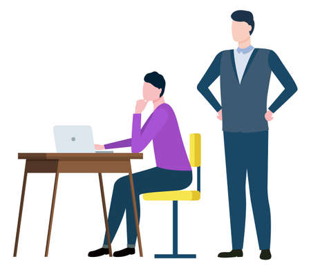 Training at work controlling supervisor, brokers collaboration isolated cartoon people. Vector male sitting on chair at desk and boss supervising employees
