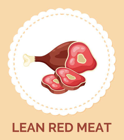Isolated in circle with text lean red meat icon. Natural organic meat for culinary. Healthy eating, keeping diet. Delicious food, meat at bone. Ingredient, food, vector icon with cutted peaces of meat 向量圖像
