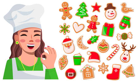 Smiling cook woman show ok good sign. Delicious sweet cookies. Set of christmas cookies, fir-tree, snowman, santa claus, christmas deer, candy, present, glove. Concept of New Year cookies collection