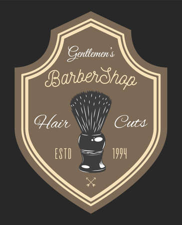 Gentlemen s barbershop shaving brush, hair cuts. Decoration elements, arrows. Black and brown poster isolated in frame. Vintage barbershop lettering for signboard, label, sticker, poster