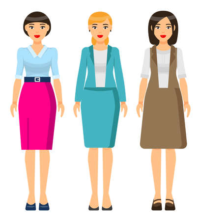 Set of vector chartoon characters. Dresscode of businesswoman. Woman wearing different clothes turquoise jacket and grey skirt, dress. Stylish business lady in blouse and skirt. Business person style