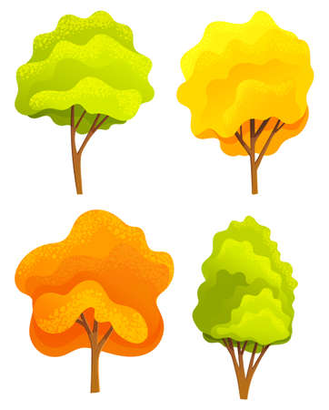 Yellow and green bright autumn tree set with a lush crown, thik brown trunk and branches on white. Vector illustration of big plant with foliage round shape, landscape element in cartoon concept 向量圖像