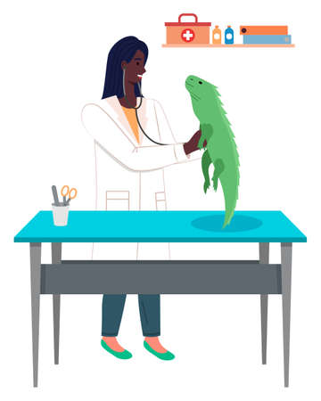 Veterinary care, veterinarian black woman examining iguana with stethoscope, checking health of domestic pet, treatment of animals in veterinary clinic, visit doctor in vet hospital, medical office