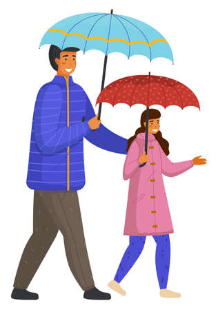 Rainy weather, father and daughter with umbrellas isolated at white background, family wearing warm clothes jacket and coat, walking young adult man with little child, girl teenager, rainy outdoors