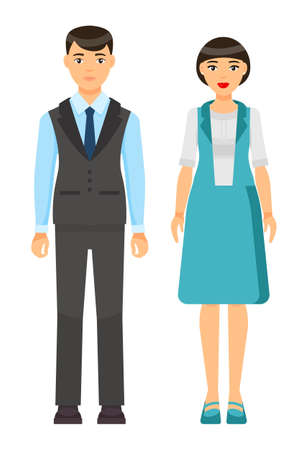 Cartoon characters, stylish businesspeople wearing office suits. Businessman in vest, blue shirt, tie, trousers. Businesswoman wear turquoise vest and skirt with white blouse. Office dresscode concept
