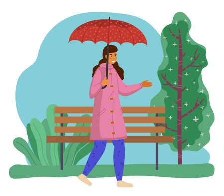 Happy girl in pink raincoat and blue pants with red dotted umbrella strolling spring green park. It starts to rain. Rainy weather does not spoil mood. Girl walks in spring rain. Flat vector image