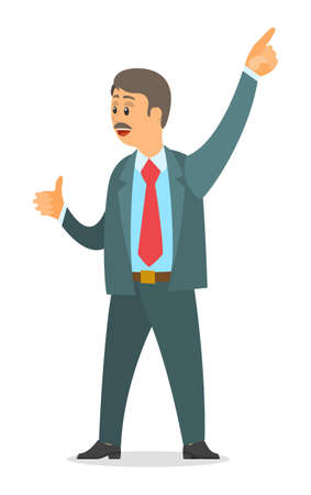 Executive adult businessman wearing office suit point at something with finger, boss showing thumb up. Office worker with mustache in grey suit and red tie smiling. Isolated cartoon character 矢量图像