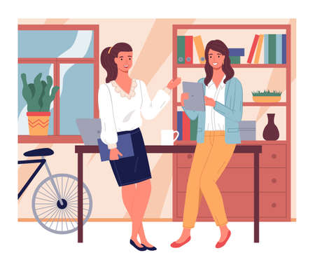 Two businesswomen talking lean at table. Young girl with digital tablet listening colleague with folder. Pretty women discussing work moments. Stylish interior with cabinet, bicycle at background 向量圖像