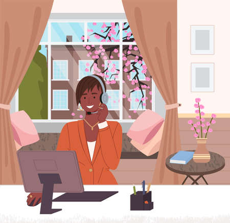 Black afro woman with headset operator or consultant of call center, hotline working from home with computer, freelance. Woman freelancer give online consultation to customer. Manager at distance work