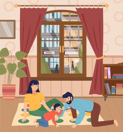 Father, mother, son playing twister at floor, people spend time together, parent and kid playing indoor game at home. Window with urban street and people. Happy family, home activity, people have fun