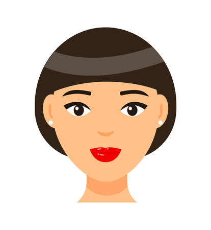 Vector cartoon character. Concept of avatar of young brown-haired woman with red lips and light makeup, earrings. Isolated portrait of pretty girl with elegance bob haircut. Attractive lady icon