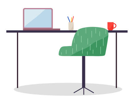 Workplace with modern wireless laptop and comfortable chair, office table with computer, cup and stationery in stand, working in internet, empty workspace isolated at white, simple vector icons