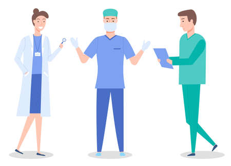 Doctors, medical staff, healthcare medicine concept, woman with magnifying glass, surgeon in mask and gloves, therapist, nurse man with clipboard, medical help, group professional medical specialists