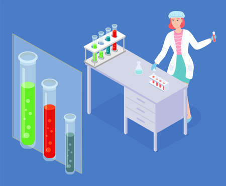 Scientist woman wearing white gown exploring elements, making tests with flasks and test tubes, liquids. Laboratory experiment, research. Big stand with tubes with toxic liquids. Laboratory assistant