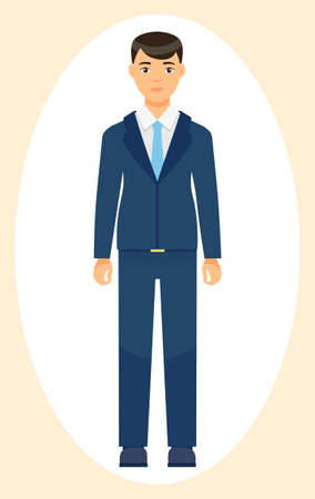 Isolated cartoon character businessman wearing stylish blue suit and tie. Man in jacket and trousers, white shirt. Business person style. Dresscode of office worker. Brown-haired guy, cloth element