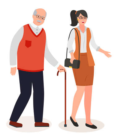 Isolated cartoon characters, flat style. Businesswoman wearing stylish business suit, skirt, blouse, in eyeglasses with ponytail walking with old man leaning at walking stick. Vector portraits 向量圖像