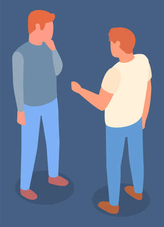 Communication of two men friends, meeting, young guys discussing, male gesture hand, 3d isometric isolated cartoon characters, faceless unknown people in casual clothes, partners or colleagues