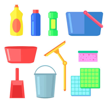 Cleaning or washing tools for home, office, interior, bottles with detergent, cleanser, plastic bucket and bowl, sponge, plastic containers, scoop, window cleaner, textile for washing dishes