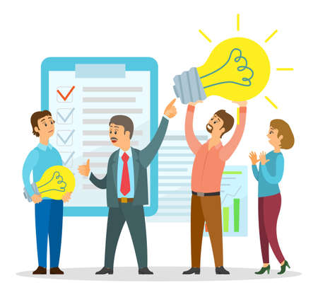 People have new idea. Man holding big lamp in hands. Startup project, colleagues discussing new project. Clipboard with checkmarks, graphics. Business people talking about new plan or strategy