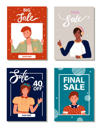 Sale posters or banners for promotional actions, shops, stores, big, final, up to 40 percent off, sale at everything, discount at goods and gifts, clothes, discounts at all, low price, advertising