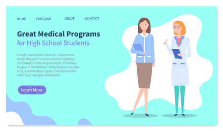 Landing page of medical website. Great medical programs for high school students. Medical education. Two doctors women with clipboards. Educational program for studying. Online education, courses