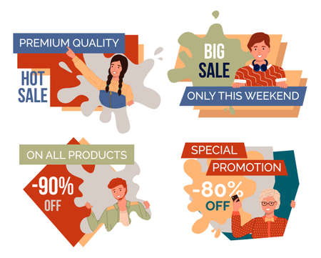 Premium quality, hot sale. Big sale, only this weekend. On all products 90 off. Special promotion, 80 percent off. Promotional banner, posters with young guys and girl. Sale of products, goods, gifts 向量圖像