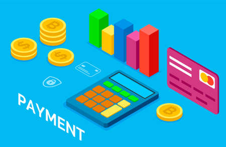Online banking. Stack of bitcoins. Card payment security. Visual graphic, statistics. Calculator icon. Internet contactless payment. Financial transactions, e-currency, e-money. 3d isometric icons 向量圖像