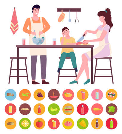 Young mom and dad cooking with son at kitchen, people sitting, standing near kitchen table. Woman cutting tomato, man mixing salad. Collection of different types of food, vegetables, fruits, drinks