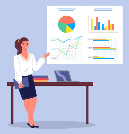 Businesswoman wearing blouse and skirt, holding folder in hand, gesturing, show financial plan, strategy, statistics at digital board, charts, graphics, diagram. Businesslady lean on table with laptop