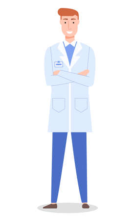 Doctor man or surgeon wearing medical gown, handsome therapist with badge, healthcare and medical concept, physician or medical specialist in flat style, medical staff, worker smiling, isolated 向量圖像