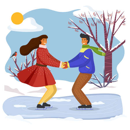 Couple skating together in winter holding hands looking at one another, snow-covered trees and bushes, young people spend time together outdoors, activity or hobby at nature, friends leisure