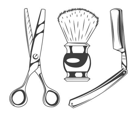 Set of barbershop tools or instruments. Sharp scissors for cutting hair, shaving brush for beard, sharp razor blade. Professional equipment for barber, shaving face, making hairstyle. Isolated symbols 向量圖像