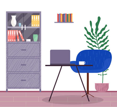 Workplace in office, interior with laptop at table, cup and comfortable chair, chest of drawers with folders, decorative elements, bookshelf, empty workspace, stylish design of office cabinet