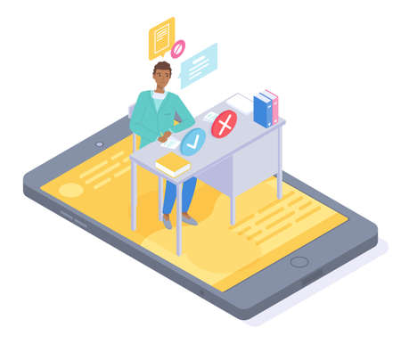 Isometric 3d illustration of smartphone. Online consultation physician therapist doctor through videocall. Physician give advice, writing recipe. Medical app, virtual help at distance. Online medicine