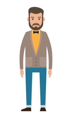 Isolated cartoon character businessman wearing stylish jacket, bow tie, blue trousers. Bearded guy in yellow shirt. Business person style. Dresscode of office worker. Brown-haired guy, cloth element 向量圖像