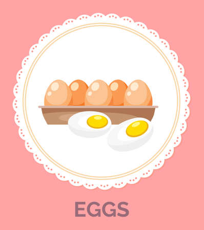 Isolated in circle with decorative elements around, fresh chicken eggs in tray. Organic product. Healthy eating, keeping diet. Ingredient for fried eggs and omelette. Healthy food. Protein and yolk