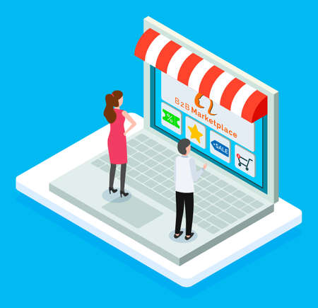 B2b marketplace, online shop, isometric 3d laptop, customers man and woman choosing products at website, discount, special price star, sale button, shopping cart, spending money at goods in e-store