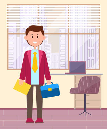 Funny cartoon businessman. Young smiling cute man student doing internship in the office, first place of work. Male character employee wearing bright pink jacket and yellow tie holding blue briefcase